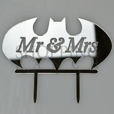 Silver Wedding Cake Topper Mr & Mrs Batman Super Hero Acrylic Decoration
