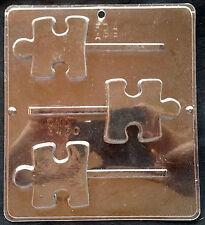 Autism Puzzle Piece Lollipop Chocolate Plastic Candy Soap Mold CML 3420