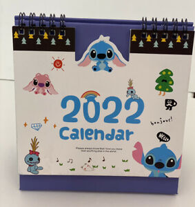 Kawaii Blue Lilo Stitch Aloha 2021-2022  home office desktop Calendar gift Xmas