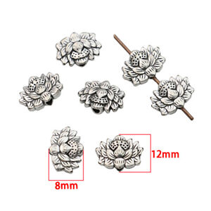 40Ps Antique Silver Lotus Flower Loose Spacer Beads for Jewelry Making Bracelet