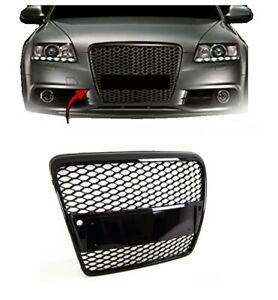 Audi A6 S6 2008-2011 Front Main Grille Gloss Black Honeycomb RS6 Style