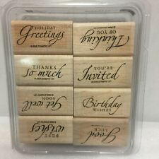 Stampin Up Sincere Salutations 8pc set Rubber Stamp Set Best Wishes Thanks