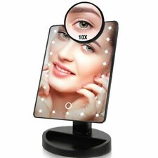 LED Light Touch Screen Makeup Mirror 10X Magnifying Glass Compact Vanity Mirror