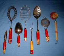 Lot 8 VTG RED/Cream WOOD Handle Kitchen Utensil Wire Wisk/Spoon/Fork/Scoop ++