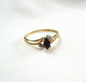 Vintage Solid 10K Yellow Gold BLUE SAPPHIRE & DIAMONDS RING size 7.25 Birthstone