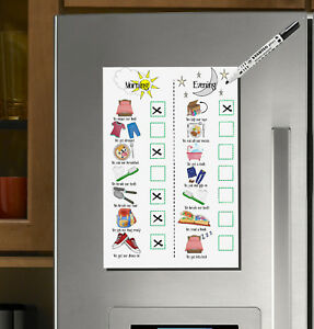 Kids Routine Magnet Chart, Morning and Evening, ADHD, ASD, Pre-school, Pictures