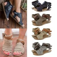 Women Summer Beach Open Toe Flats Sandal Ladies Gladiator Canvas Shoes Size 6-10