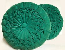 "Pair of Vintage 16"" Mid Century Round Green Blue Corduroy Rosette Throw Pillows"