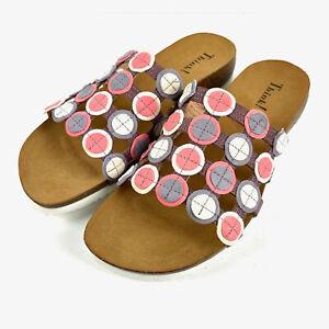 Think! Womens Sandal Julia 40 Pink White Slip On Shoes Brand New