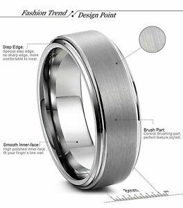 Free Engraving -  Tungsten Carbide Step Edge Brushed Center Wedding Band Ring