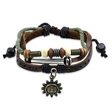 Lederarmband echt Leder Armband Holzperlen & Sonnen Charm mehrfarbig L23