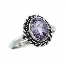 925 Silver Amethyst Oval Vintage Ring Size 7
