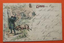 Litho AK Gruss aus 1901 Soldat Ziegenbock Biwak i Wald Uniform Österreich Wache