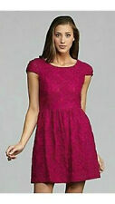 NWT$128 KENSIE Pink Berry Cap Sleeve Scoop Neck Lined Lace Floral Dress Sz: L