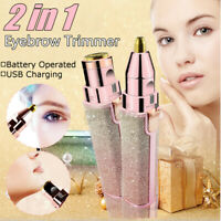 Women Facial Face Eyebrow Trimming Hair Removal 2 in 1 Shaver Electric