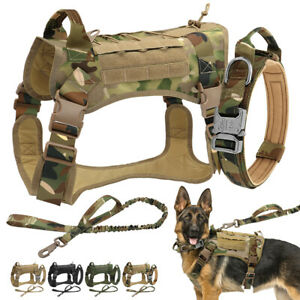 Tactical Military K9 Dog Harness & Collar & Leash MOLLE Training Service Vest L