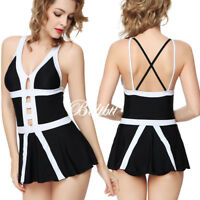 Women Push-up Two-piece Swim Dress Swimsuit Bikini Swimwear Tankini Plus Size US