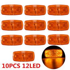 10x Amber Lens 12 LED Diodes Bulls Eye RV Trailer Side Marker Clearance Light