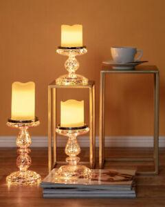3er Set Glas Kerzenhalter Kerzenständer mit LED+Timer+FB Kerzenleuchter Teelicht