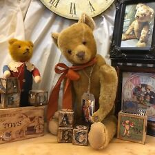 24� Early 1900s American Antique Teddy Bear, Gold Mohair, Excelsior, Big Muzzle!