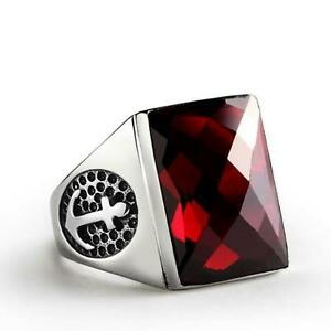 Men's Ring in Solid 925 STERLING SILVER with Large Red Garnet Gemstone all sz