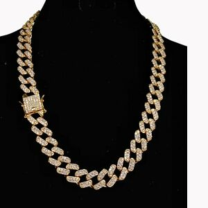 MIAMI PRONG CUBAN LINK NECKLACE CHAIN DIAMOND 14K YELLOW GOLD CHOKER HIP HOP ICY