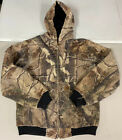 Vtg Carhartt + RealTree Collaboration Woodland Camo Youth Hoodie 14/16