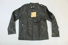 Dixon Leather Men's Tribe Chopper Faux Leather Jacket AB3 Black Large NWT