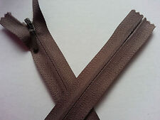 "* Lace Market * YKK Brown Invisible 9"" 23cm Closed End Zip Zipper"