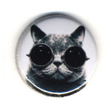 Badge CHAT à LUNETTES funny cat kawaii cute Punk Rock Pin hype culte pop Ø25mm
