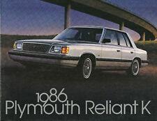 1986 Plymouth RELIANT K Car Brochure:SE,LE,WAGON,