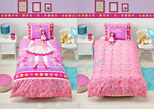 BALLERINA Single Bed Reversible Girls Pink Purple Quilt Cover - Cubby House Kids