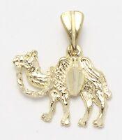 14k Yellow Gold Diamond Cut Camel Charm Necklace Pendant