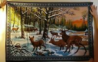 "Vintage ELK TAPESTRY Wall Hanging 100% cotton Made in Turkey 58"" X 39"""