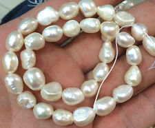"New 8-9mm Natural Baroque White Freshwater Real Pearl Loose Beads 14"" Strand"