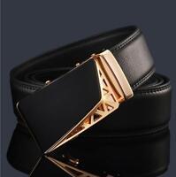 Men's Genuine Leather Fashion Automatic Buckle Belts Waist Strap Belt Waistband