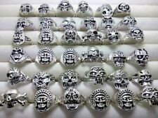 wholesale 20Pcs Silver Skull Pattern Gothic Ring Punk Style Rings Jewelry