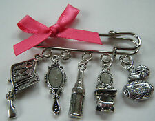 BEAUTY THERAPIST BEAUTICIAN PAMPER PARTY KILT PIN TUNIC BROOCH BAG CHARM GIFT