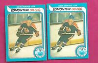 2 X 1979-80 OPC # 387 OILERS DAVE HUNTER ROOKIE CARD (INV# C4347)