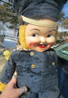VINTAGE RUBBER PLASTIC FACE PLUSH BEAR TOY SOLDIER DOLL RARE GUND RUSHTON 25""