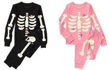 NWT Gymboree SKELETON Halloween Costume 2014 Pajamas/Gymmies Glow-In-The-Dark