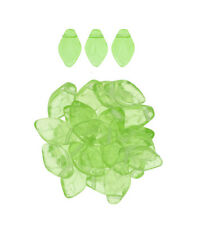 25 Translucent Peridot Green Czech Glass Leaf Beads Side Drilled 12MM