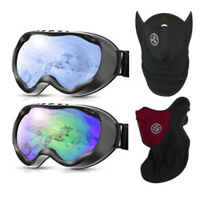 Anti-Fog UV 400 Protection OTG Ski Goggles & Windproof Thermal Fleece Facemask