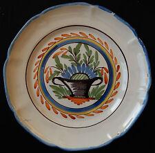 N90) Assiette ancienne FAÏENCE DE L'EST ou du NORD décor floral (très bon état)