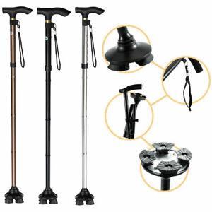 Pivoting head Folding Walking Stick Aluminium Adjustable Cane Travel Mobility UK