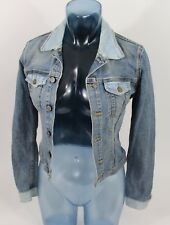 HUDSON Signature Classic Jean Jacket Womens Size XS RARE Two Tone Blue Distress