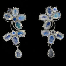 """70 CTS!! HUGE!! NATURAL AAA FIRE BLUE LUSTER MOONSTONE 925 SILVER EARRINGS 1.75"""""""