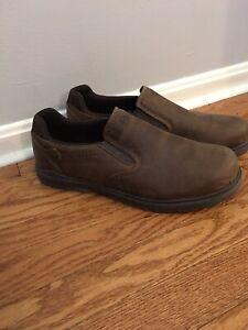 Merrell Men's Size 13  Brown Leather Slip On Loafer Shoes  Moc Shetland