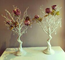 A Pair Of Manzanita Tree Wedding Centre Piece Table Decor Crystal Drops Flowers
