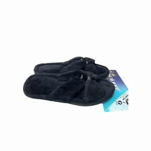 Isotoner Black Terry Slides L 8.5-9 Memory Foam Slippers Comfort Cozy Casual